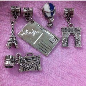 Jewelry - Eiffel Tower, Paris postcard, triumph wall charms